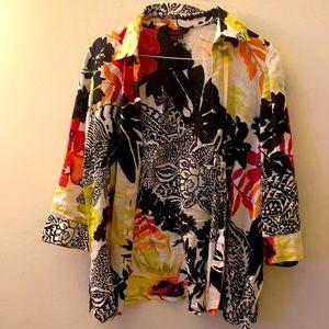 Simon Chang linen button down jacket/shirt